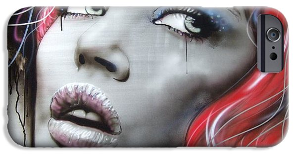 Lips iPhone Cases - Bleeding Rose iPhone Case by Christian Chapman Art