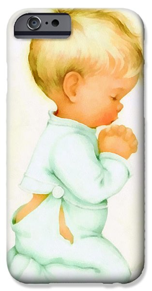 Pajamas iPhone Cases - Bless Us All iPhone Case by Charlotte Byj