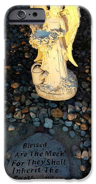 Pebble Sculptures iPhone Cases - Blessed Are The Meek iPhone Case by Lora Machiele