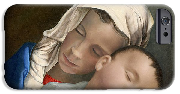 Cecilia iPhone Cases - Blessed Mother Mary and Jesus iPhone Case by Cecilia  Brendel
