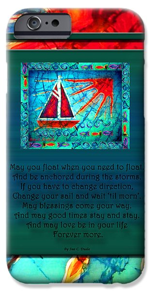 Sailboat Ocean Tapestries - Textiles iPhone Cases - Blessings 1 iPhone Case by Sue Duda