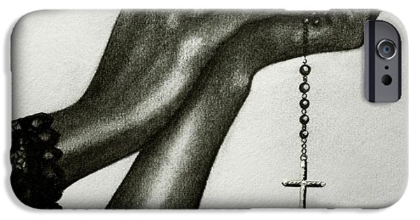 Crucifix Drawings iPhone Cases - Blessings iPhone Case by Bonnie Leeman