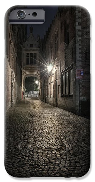 Night Lamp iPhone Cases - Blind Donkey Alley Dawn iPhone Case by Joan Carroll