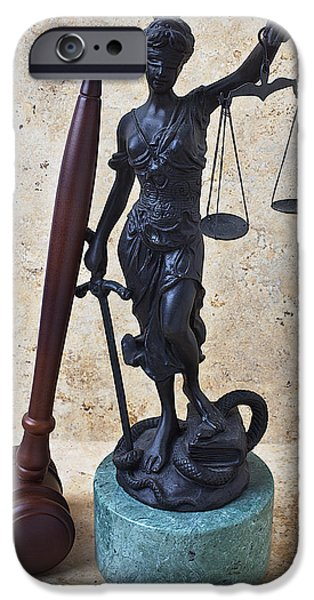 Law Enforcement iPhone Cases - Blind justice statue with gavel iPhone Case by Garry Gay
