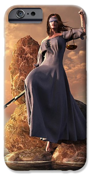 Justices iPhone Cases - Blind Justice with Scales and Sword iPhone Case by Daniel Eskridge