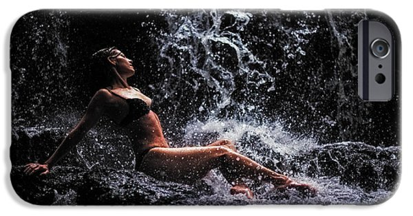 Figure iPhone Cases - Bliss. Anna at Eureka Waterfalls. Mauritius iPhone Case by Jenny Rainbow