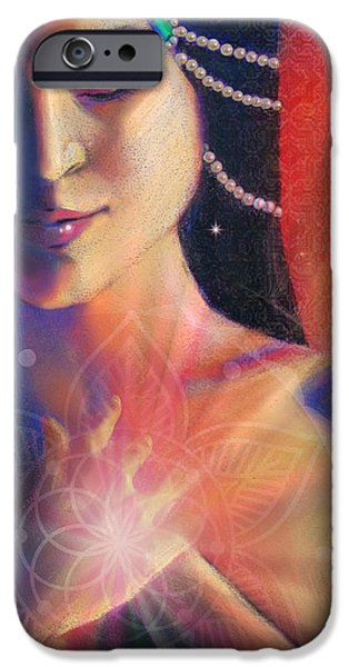 Hindu Goddess Mixed Media iPhone Cases - Bliss  iPhone Case by Lucinda  Rae