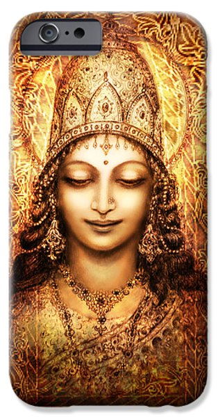 Hindu Goddess Mixed Media iPhone Cases - Blissful Goddess iPhone Case by Ananda Vdovic