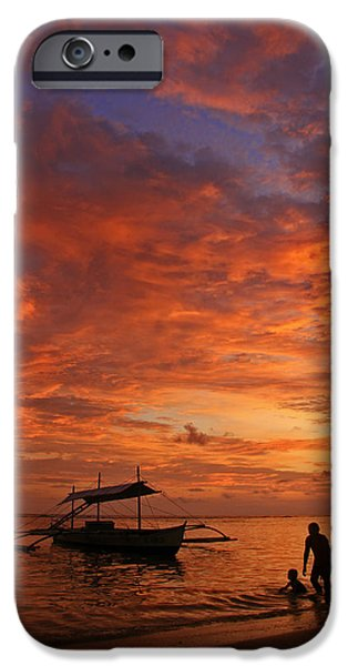 Beach Landscape iPhone Cases - Blissful Sunset iPhone Case by Janet Pancho Gupta