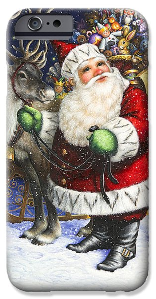 Santa iPhone Cases - Blitzen iPhone Case by Lynn Bywaters