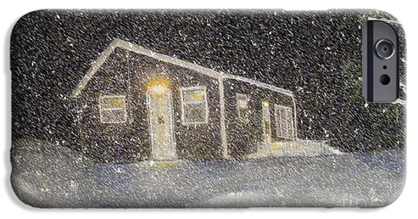 Snowy Night iPhone Cases - Blizzard at the Cabin iPhone Case by Barbara Griffin
