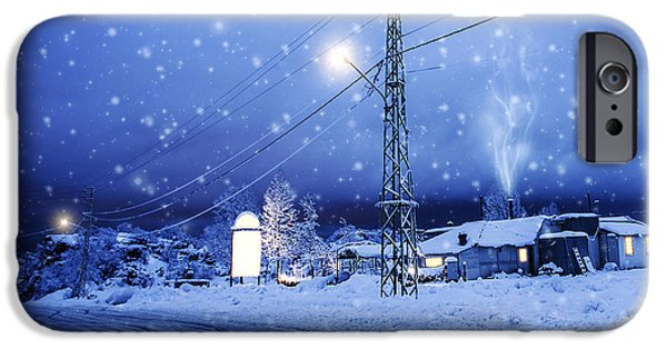 Wintertime iPhone Cases - Blizzard in the village iPhone Case by Anna Omelchenko
