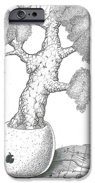 Technology Drawings iPhone Cases - Bloated apple tree iPhone Case by Grant Mansel-James