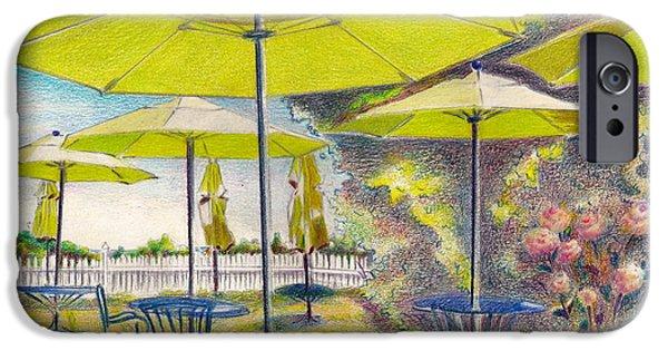 Umbrella Pastels iPhone Cases - Block Island 2- Green Umbrellas iPhone Case by Daniela Johnson