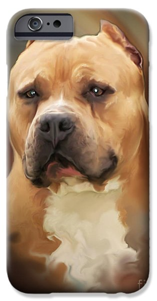 Blond Pit Bull by Spano iPhone Case by Michael Spano