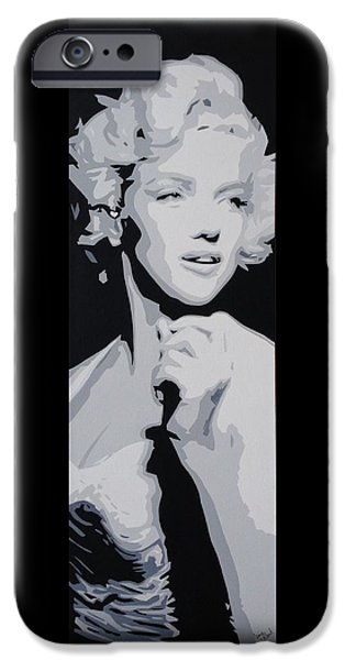 Celebrities Art iPhone Cases - Blonde Bomshell iPhone Case by Janice Lochhead