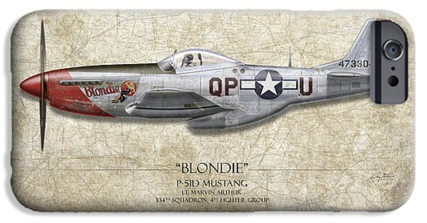 War iPhone Cases - Blondie P-51D Mustang - Map Background iPhone Case by Craig Tinder