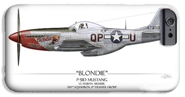P-51 iPhone Cases - Blondie P-51D Mustang - White Background iPhone Case by Craig Tinder