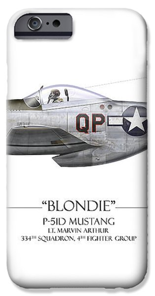 Blondie P-51D Mustang - White Background iPhone Case by Craig Tinder