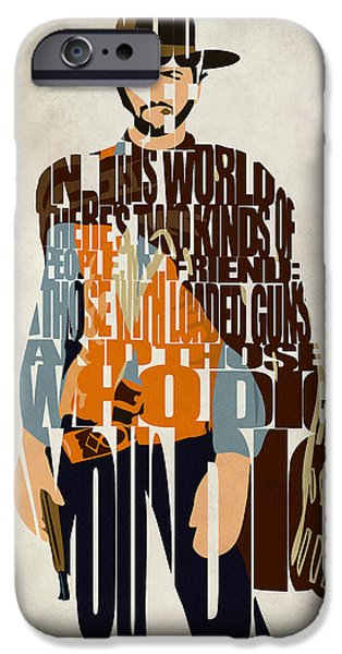 Character iPhone Cases - Blondie Poster from The Good the Bad and the Ugly iPhone Case by Ayse Deniz