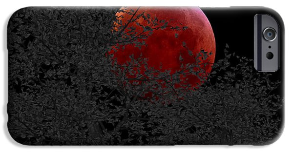 Evening Mixed Media iPhone Cases - Blood Moon iPhone Case by Cheryl Young