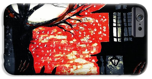 Haunted House Pastels iPhone Cases - Blood Moon iPhone Case by Denisse Del Mar Guevara