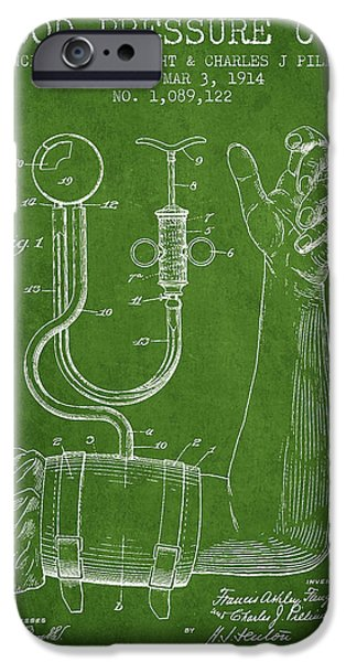 Device iPhone Cases - Blood Pressure Cuff Patent from 1914 -Green iPhone Case by Aged Pixel