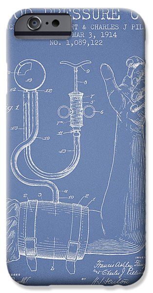 Device iPhone Cases - Blood Pressure Cuff Patent from 1914 -Light Blue iPhone Case by Aged Pixel