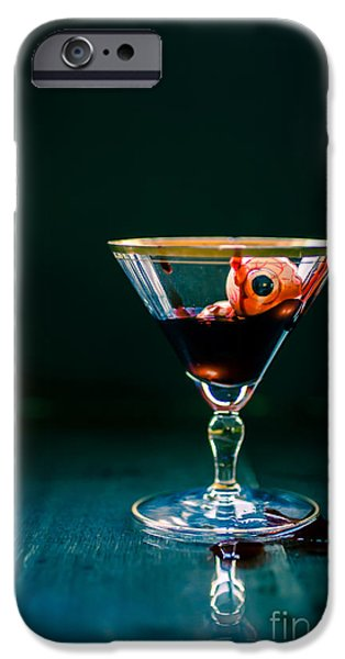 Creepy iPhone Cases - Bloody eyeball in martini glass iPhone Case by Edward Fielding