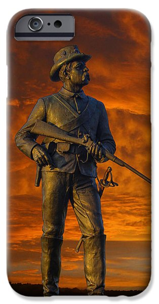 Year Of The Horse iPhone Cases - Bloody Sunset 2nd Pennsylvania Calvry Monument iPhone Case by Randy Steele