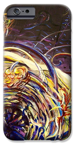 Outer Space Paintings iPhone Cases - BLOOM Supernova with Shock Wave Expansion iPhone Case by Catherine Gruetzke-Blais