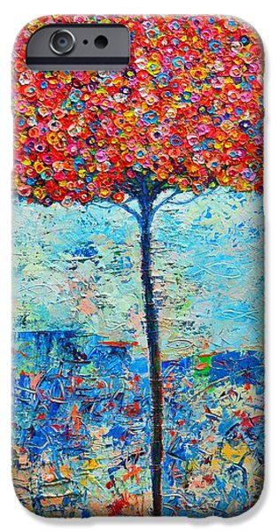 BLOOMING BEYOND KNOWN SKIES - THE TREE OF LIFE - ABSTRACT CONTEMPORARY ORIGINAL OIL PAINTING iPhone Case by ANA MARIA EDULESCU