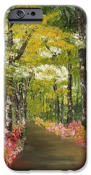 Smokey Mountains Paintings iPhone Cases - Blooming Borders iPhone Case by Ralph Loffredo