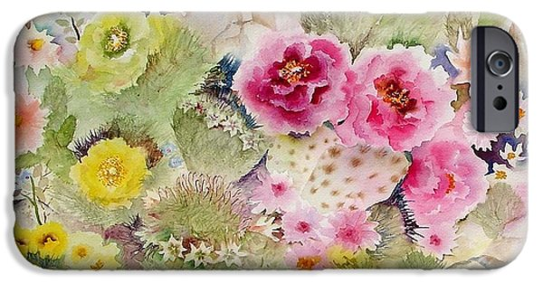 Cacti iPhone Cases - Blooming Cacti iPhone Case by Neela Pushparaj