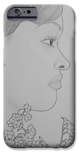 Aaron Drawings iPhone Cases - Blooming Girl For Get Me Not   iPhone Case by Aaron El-Amin