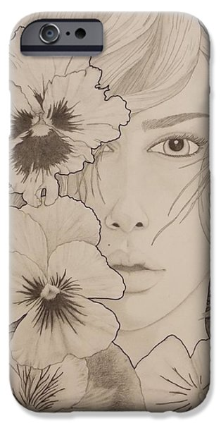 Aaron Drawings iPhone Cases - Blooming Girl Pansy Refined iPhone Case by Aaron El-Amin