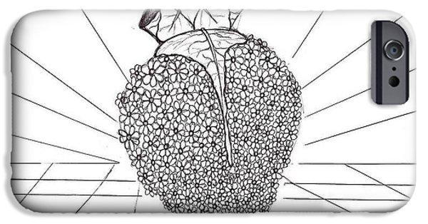 Diy Drawings iPhone Cases - Blooming Heart  iPhone Case by Elizabeth Cadena