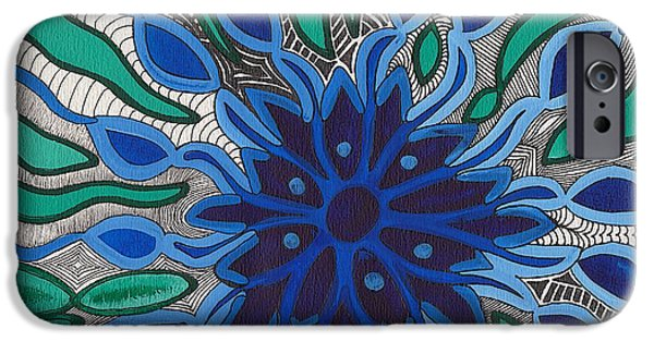 Graphic Design iPhone Cases - Blooming in Blue iPhone Case by Barbara St Jean