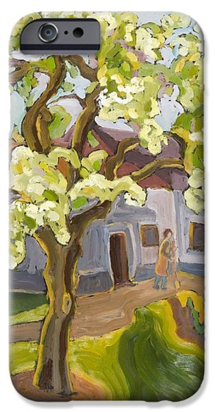 Fruit Tree iPhone Cases - Blooming Pear Tree, 2008 Oil On Board iPhone Case by Marta Martonfi-Benke