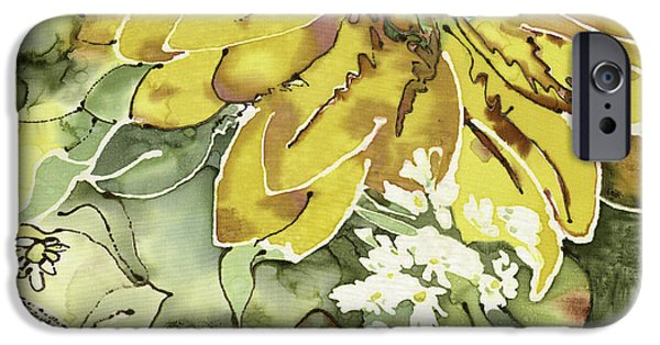 Garden Tapestries - Textiles iPhone Cases - Blooming Sunflower  iPhone Case by Barb Maul