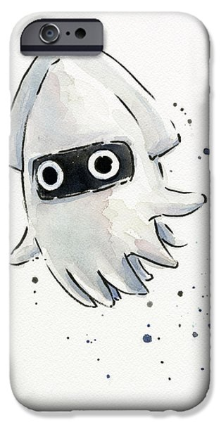 Cartoon Art iPhone Cases - Blooper Watercolor iPhone Case by Olga Shvartsur