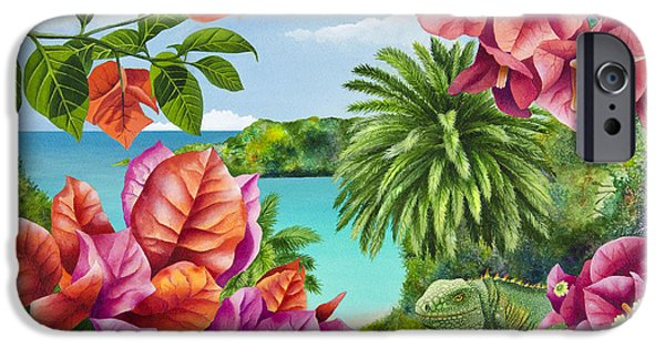 Iguana iPhone Cases - Blossom Bower iPhone Case by Carolyn Steele