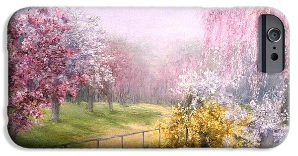 Willow Lake Paintings iPhone Cases - Blossom  iPhone Case by Suely Cassiano