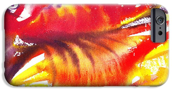 Freed Paintings iPhone Cases - Blossoming Flames Abstract  iPhone Case by Irina Sztukowski