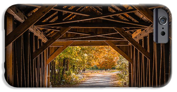 Fall Foliage iPhone Cases - Blow-Me-Down Covered Bridge Cornish New Hampshire iPhone Case by Edward Fielding