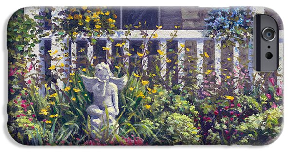 Garden Scene Paintings iPhone Cases - Blowing Kisses in the Garden iPhone Case by Rick Hansen