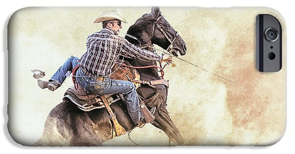Roping Horse iPhone Cases - Blown Spur iPhone Case by Ron  McGinnis