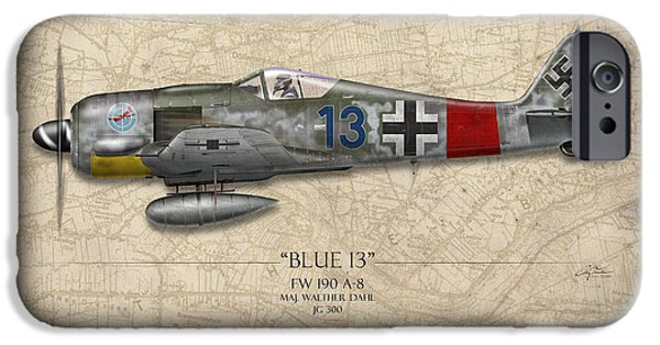 Nose Digital Art iPhone Cases - Blue 13 Focke-Wulf FW 190 - Map Background iPhone Case by Craig Tinder