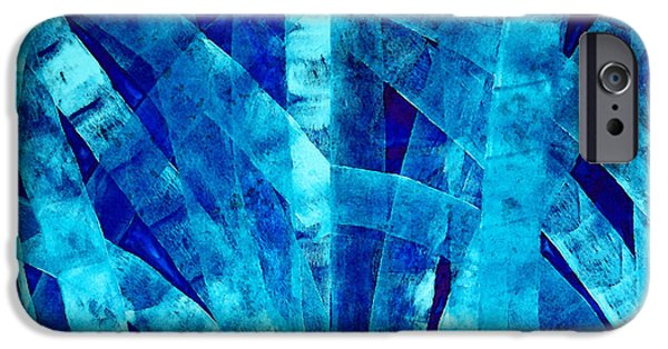 Angel Blues iPhone Cases - Blue Abstract Art - Paths - By Sharon Cummings iPhone Case by Sharon Cummings