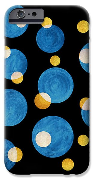 Abstract Night Sky iPhone Cases - Blue Abstract Circles iPhone Case by Frank Tschakert
